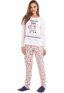 Pijama Longo De Inverno Aconchego Feminino Adulto Luna Cuore
