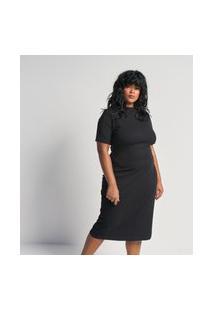 Vestido De Malha Canelada Tubular Midi Com Gola Alta Curve E Plus Size Preto