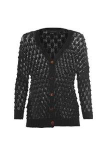 Casaco Feminino Textura - Preto