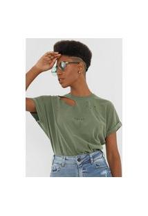 Camiseta Colcci Destroyed Verde