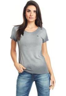 Camiseta Feminina Básica Bossa Logo Bossa - Feminino-Chumbo
