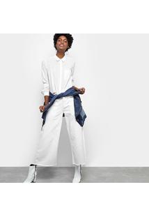 Camisa Drezzup Manga Longa Bolso Feminina - Feminino-Off White
