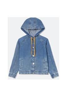 Jaqueta Jeans Com Capuz E Estampa Space Jam Nas Costas | Space Jam | Azul | M