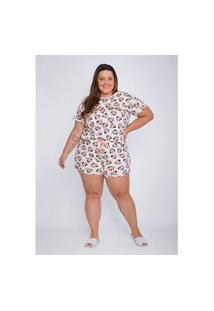 Pijama Plus Size Feminino Evanilda Manga Curta Minnie Faces