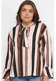 Blusa Blomma Plus Size Laço Manga Flare Feminina - Feminino-Estampado