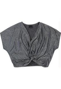 Blusa Preto Cropped Com Fio Metalizado