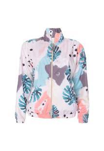Jaqueta Corta Vento Feminino Sublimado Floral Camuflado Calfin