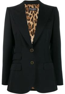 Dolce & Gabbana Peaked Lapel Blazer Jacket - Preto