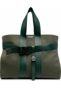 Sunnei Bolsa Tote Bicolor Com Recorte - Verde