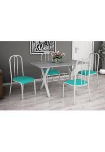 Conjunto De Mesa Miame 110 Cm Com 4 Cadeiras Madri Branco E Verde