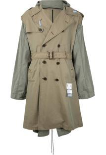 Maison Mihara Yasuhiro Trench Coat Bicolor Com Capuz - Cinza