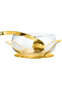 Saladeira Uno Com Pegador Ouro 24K - Riva