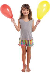 Pijama Curto Inspirate Xadrez Color Verão - Feminino-Cinza