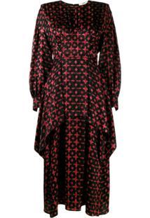 Fendi Vestido De Seda Com Sobreposição - Preto