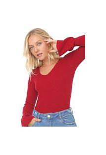 Blusa Facinelli By Mooncity Tricot Canelado Vermelha