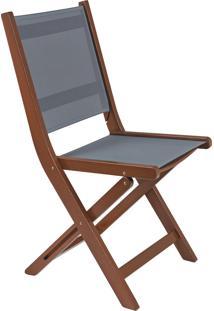 Cadeira Dobrável Com Tela Cinza Tramontina 13873/076 Fitt Madeira