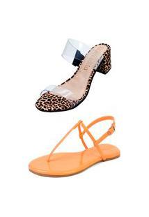 Kit Sandália Tamanco Salto E Rasteira Mercedita Shoes Cristal Com Onça E Verniz Papaya