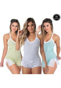 Baby Doll Renda Grécia Kit 3 Colorido - Feminino-Cinza