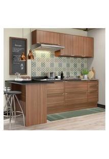 Cozinha Completa Multimóveis Com 6 Peças Calábria 5455R Nogueira Marrom