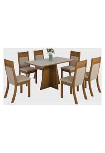 Sala De Jantar Biby R C/6 Cadeiras Roma Imbuia/Off White Viero Móveis