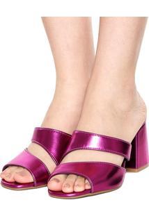 Tamanco Dafiti Shoes Metalizado Rosa