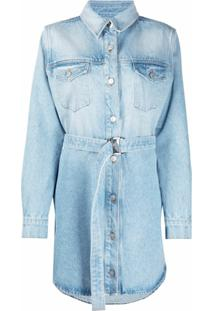 Off-White Chemise Jeans Com Bordado Floral - Azul