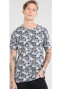 Camiseta Masculina Estampada De Caveiras Manga Curta Gola Careca Cinza Mescla