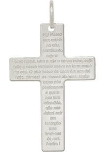 Pingente Prata Mil Prata Cruz Com Oração Do Pai Nosso Prata - Kanui