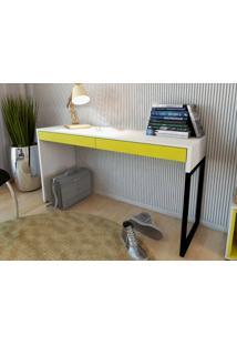 Mesa Para Escritorio Desk Branco/Amarelo - Fitmobel