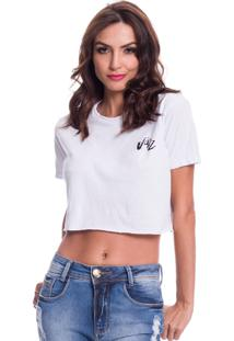 Camiseta Cropped Jazz Brasil Basica Branca - Kanui