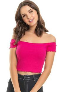 Blusa Com Franzidos Rosa