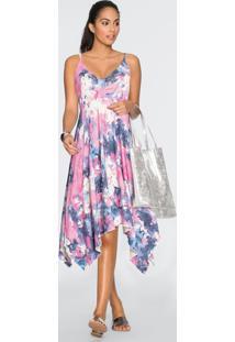 Vestido Com Barra Assimétrica Tie Dye Rosa