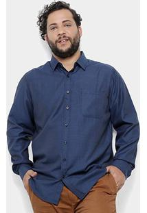 Camisa Social Delkor Plus Size Masculina - Masculino-Azul