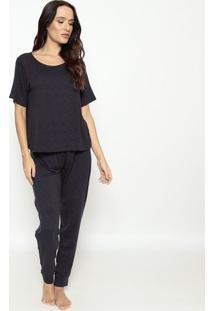 Pijama Blusa + Calça Geométrico- Azul Escuro & Vermelho