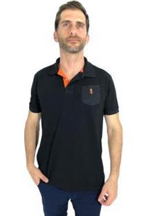 Camisa Polo Mister Fish Slim Basic Com Bolso Masculina - Masculino-Preto