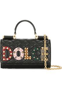 Dolce & Gabbana Clutch Mini 'Von' De Couro - Preto