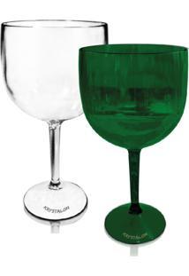Kit 2 Taças Verde E Transparente Acrílico Ps Krystalon