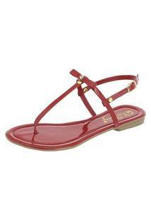 Sandália Fashion 20 Rasteirinha Flat Vermelha