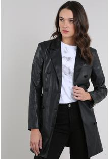 Casaco Trench Coat Feminino Mindset Com Cinto Preto