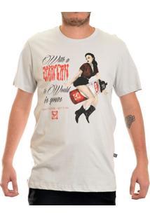 Camiseta New Skate Manga Curta Pin Up Prata