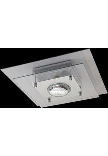 Plafon Saturno Aluminio E Vidro Pmq 130 Escovado Transparente Bivolt