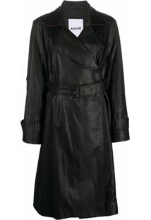 Koché Leather-Finished Trench Coat - 900 Blk