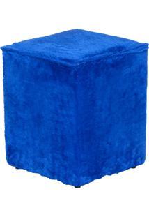 Puff Cubo Madeira 35X35X42 Pelúcia Azul Stay Puff