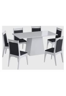 Conjunto Mesa C/ Base 6 Cadeiras Branco Móveis Cançáo