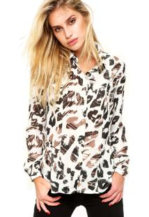 Camisa Manga Longa Forum Animal Print Off White