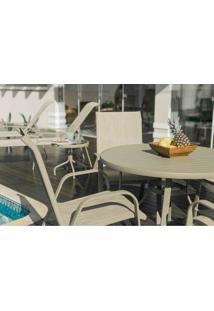 Conjunto Para Piscina Com Mesa Tampo De Alumínio De Ø 105Cm, 4 Cadeiras E 1 Ombrelone Alumínio Beje Jateado