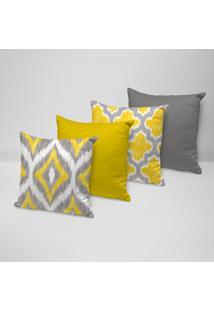 Kit 4 Capas Para Almofadas Decorativas Abstrato Amarelo 35X35Cm - Kanui