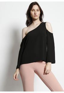 Blusa Lisa Ombro Vazado - Preta - Moisellemoisele