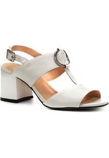 Sandália Couro Shoestock Salto Bloco Argola