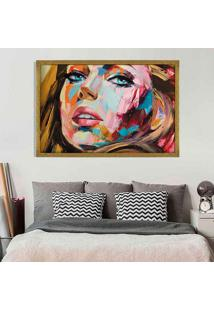 Quadro Love Decor Com Moldura Painting Girl Dourado Grande